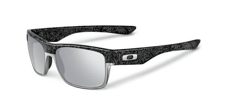 0facd05010 Oakley Sunglasses POLARIZED TWOFACE Polished Black Silver Ghost Text Chrome  Iridium Polarized .