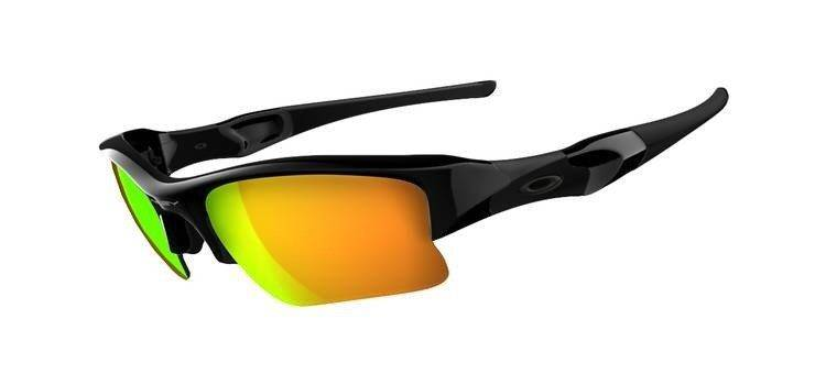 Oakley Sonnenbrille Flak Jacket Xlj W/Fire Iridium, Polished Black, One size, 03-899