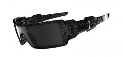 Oakley Sunglasses Oil Rig Polished Black/Silver Ghost Text / Black Iridium 24-058
